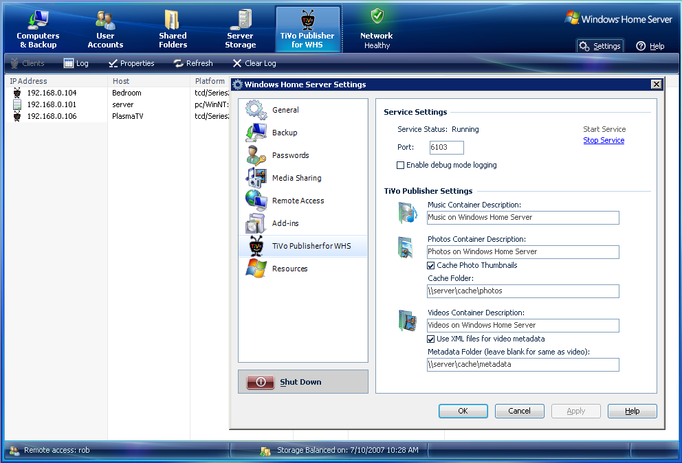 durfee net software: TiVo Publisher for WHS